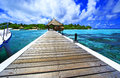 Welcome to paradise landing stage at eriyadu island resort in north male atoll maldives Stock Photo