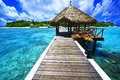 Welcome to paradise landing stage at eriyadu island resort in north male atoll maldives Royalty Free Stock Photos