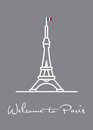 Welcome to Paris greeting card with Eiffel Tower icon