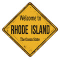 Welcome to Rhode Island vintage rusty metal sign