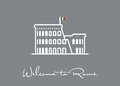Welcome to Rome greeting card with Colosseum ruins icon