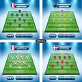 Soccer team player plan. Group C with flags FRANCE, AUSTRALIA, PERU, DENMARK.