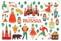 Welcome to Russia. Russian sights and folk art. Football championship in 2018. Flat design Vector illustration.