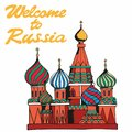 Welcome to Russia. Traditional symbol of Russia. Vector illustration