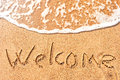 Welcome to the sand by the sea Royalty Free Stock Photography