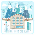 Welcome to the ski resort banner Royalty Free Stock Photo