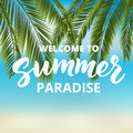 Welcome to summer paradise hand drawn brush lettering tropical beach background with palm leaves holidays poster Royalty Free Stock Photos