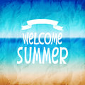 Welcome to summer vector illustration of a beautiful sea beach in vintage style Royalty Free Stock Images