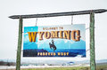 Welcome to Wyoming sign Royalty Free Stock Photo