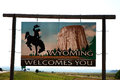 Welcome to wyoming a sign at the state line Stock Photo