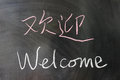 Welcome word in chinese and english written on the chalkboard Royalty Free Stock Image