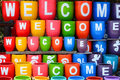 Welcome word on colorful pot Royalty Free Stock Images