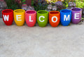 Welcome word on earthenwares Stock Photo