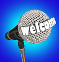 Welcome word microphone speaker emcee opening remarks oa microphe in d letters to illustrate introudction in a speech presentation Royalty Free Stock Photo