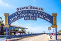 stock image of  The welcoming arch of Santa Monica Pier