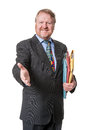 Welcoming businessman with folders - on white Royalty Free Stock Photo