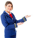Welcoming flight attendant Stock Photos