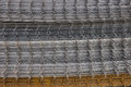 Welded iron mesh panels for reinforced concrete background Royalty Free Stock Photo