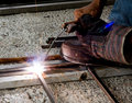 Welder doing their work Royalty Free Stock Photography