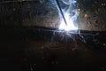 Welder welding sparks steel in factory bodypart Stock Photos