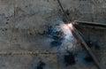 Welder welding sparks steel in factory bodypart Royalty Free Stock Photo