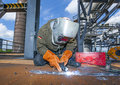 Welder at work at the famous industry site in neuenkirchen Stock Photo
