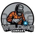 Welder working with weld helmet in badge design style Royalty Free Stock Photo