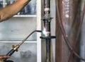 Welders were repairing Shock absorbers Royalty Free Stock Photo