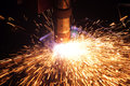 Welding cnc machine and sparks Royalty Free Stock Photo
