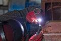 Welding control sample from a pipe of small diameter for proficiency testing by the method argon arc Royalty Free Stock Photo