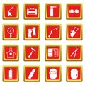Welding icons set red