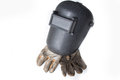 Welding mask and gloves on white background Stock Photo