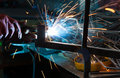Welding metal with lots of sparks Royalty Free Stock Images