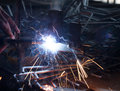 Welding metal with lots of sparks Royalty Free Stock Photography