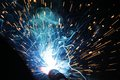 Welding sparks from of metal Royalty Free Stock Image