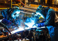 Welding with sparks Royalty Free Stock Photo
