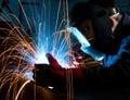 Welding steel construction Royalty Free Stock Photo