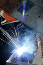 Welding steel and sparks Stock Photos