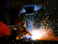 Welding steel and sparks Stock Photo