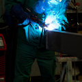 Welding steel structure construction worker and welder is parts with a lot of sparks Royalty Free Stock Photos