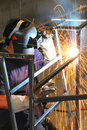 Welding steel structure Royalty Free Stock Photo