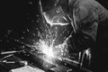 Welding steel structures close up view of Royalty Free Stock Photo