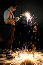 Welding worker in factory Royalty Free Stock Photo