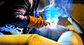 Welding  working with  mig-mag method Royalty Free Stock Photo
