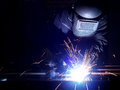 Welding on the workplace construction and manufacturing Royalty Free Stock Images