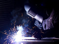 Welding on the workplace construction and manufacturing Royalty Free Stock Photos