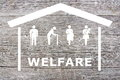 Welfare concept on wooden background Royalty Free Stock Photo