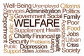 Welfare word cloud on white background Stock Photos