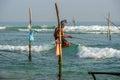 WELIGAMA, SRI LANKA - JANUARY 11 2017: Unidentified local fisher