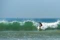 WELIGAMA, SRI LANKA - JANUARY 09 2017: Unidentified man surfing
